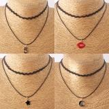 简约双层红唇锁骨链欧美波浪项圈短款项链女