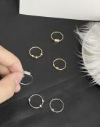 个性几何金属质感光面圆珠尾戒三件套戒指套装女