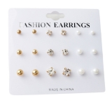 @特价@欧美简约速卖通爆款耳环钻石圆形9件套耳钉套装