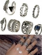 速卖通欧美复古沙滩戒指三角形蓝宝石镂空爱心尾戒7件套戒指