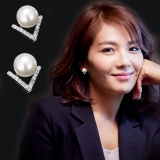 韩国新款耳环饰品百搭不对称珍珠欢乐颂2刘涛同款耳钉女