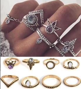 欧美速卖通复古皇冠钻石8件套戒指套装尾戒