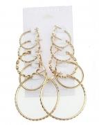 欧美时尚夸张大小圆圈速卖通5件套耳环套装