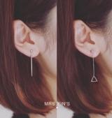 2017新款简约三角形几何竖条流苏不对称个性耳钉耳环