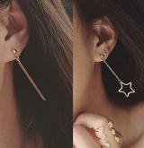 韩国简约镂空五角星形不对称竖条流苏耳环耳饰个性耳钉