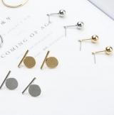 欧美简约时尚潮人设计款圆圈一字金属耳钉耳环耳饰