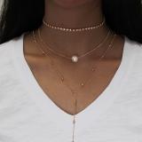 爆款欧美锁骨颈链女套装 水晶吊坠三层珍珠项链女项饰品批发