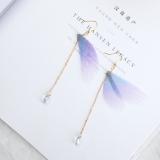 手工蝴蝶耳环 珍珠长款耳线不对称薄纱翅膀锆石古装淑女超仙女耳饰