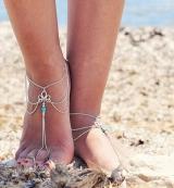 欧美饰品时尚简约复古镂空花纹松石串珠流苏连指沙滩脚链女
