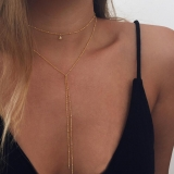 欧美饰品时尚 简约珠链项链 复古锁骨项链 双层长款合金颈链批发