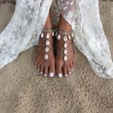 新款 外贸原单欧美饰品 时尚个性 贝壳流苏多层连指沙滩脚链女