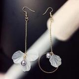 韩国新款气质耳勾 长款花朵流苏耳环 百搭个性不对称耳坠女