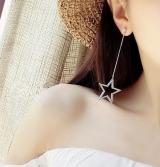 五角星锆石耳钉闪钻长耳针长款流苏耳环简约夸张耳饰长款