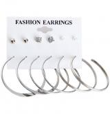 欧美大牌大圆圈耳环6件套套装耳钉珍珠钻石夸张耳饰