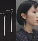 韩国长条耳钉耳线长款气质简约个性百搭欧美长条耳环耳饰