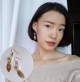 手作饰品极简约风复古显瘦金色树叶珍珠耳环韩国气质女耳钉耳坠