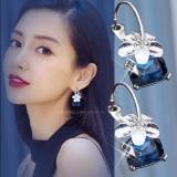 明星夸张大气潮流时尚耳饰品水晶樱花耳圈耳钉女气质韩国耳环