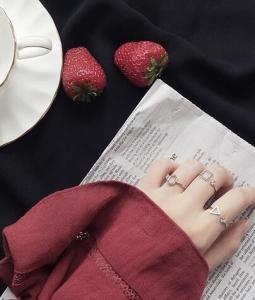 韩国简约几何多边形三角形正方形开口钻石戒指尾戒
