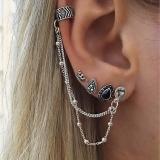欧美波西米亚复古风皇冠水滴链条4件套组合套装耳钉耳饰