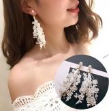 气质名媛流苏蕾丝花朵水钻珍珠长款耳环耳饰耳钉耳坠