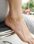 欧美个性流苏双层星星珍珠8字脚链脚饰