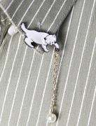 日系韩国 白色小猫珍珠胸针 领针徽章