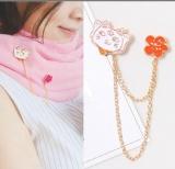 韩国可爱猫咪花朵可爱流苏胸针领子装饰