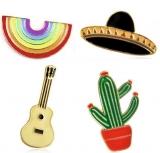 韩国可爱彩虹仙人掌吉他飞碟胸针领带装饰肩章
