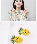 韩国简约菠萝耳钉水果耳环