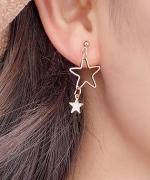 日韩清新气质镂空星星小巧耳钉不对称耳环女简约学生长款