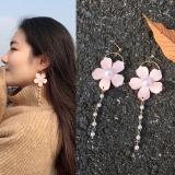韩国可爱淑女花瓣珍珠流苏长款圆圈耳环耳钉