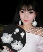 白色蕾丝珍珠花朵耳环女韩国长款气质仙女耳坠