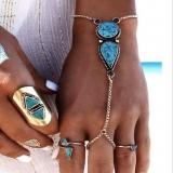 欧美波西米亚风沙滩复古民族绿松石连指手链 手饰品批发