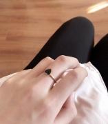 黑色超闪爱心戒指 时尚少女百搭款式