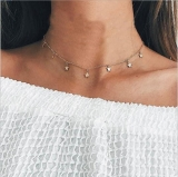 时尚简约欧美风女式合金电镀项链 长款个性五角星吊坠新款