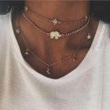 跨境新款欧美时尚多层颈链 月亮星星大象吊坠项链女组合锁骨链