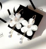 新款韩国6片花瓣亚克力锆石流苏几个耳环圆圈透明耳饰太阳花耳钉
