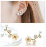 韩国新款贝壳花朵珍珠耳钉 简约树枝耳环 气质时尚OL耳饰女
