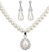 【8-22】wish平台款首饰套装 时尚珍珠项链耳环耳钉套装