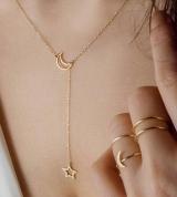 欧美时尚 月亮星星锁骨链 短项链 时尚款