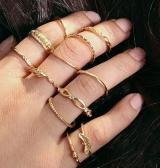 关节戒指套装复古镶钻戒指 十二个组合缠绕打结雕花12件套装戒指