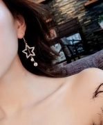 五角星水钻 时尚长款气质星星耳钉吊坠夸张耳环
