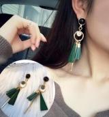 气质韩国耳环长款吊坠个性耳坠 三角木头流苏耳环