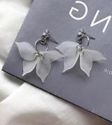 日韩设计气质简约锆石耳钉几何圆环磨砂花瓣耳环