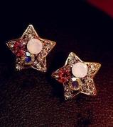 饰品 天星镶钻金色五角星耳钉