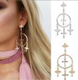 欧美速卖通饰品 欧版复古夸张风耳饰 合金雕纹十字架流苏耳环