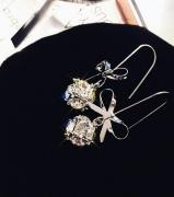 韩国新款蝴蝶结锆石水晶百搭耳饰品个性吊坠潮人耳坠长款气质耳钉女