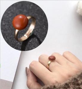 韩国天然红玛瑙戒指复古宫廷红宝石食指环