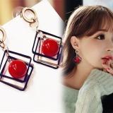 韩国高档气质耳环几何方块韩国耳饰 时尚优雅樱桃大珠百搭耳钉