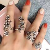 欧美爆款时尚个性古银镂空雕花4件套戒指套装